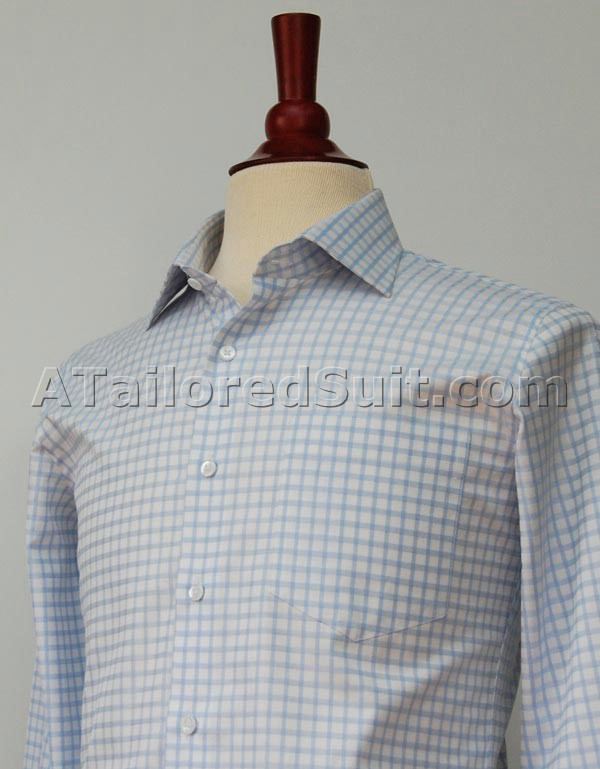 White Tailored Shirt Blue Check