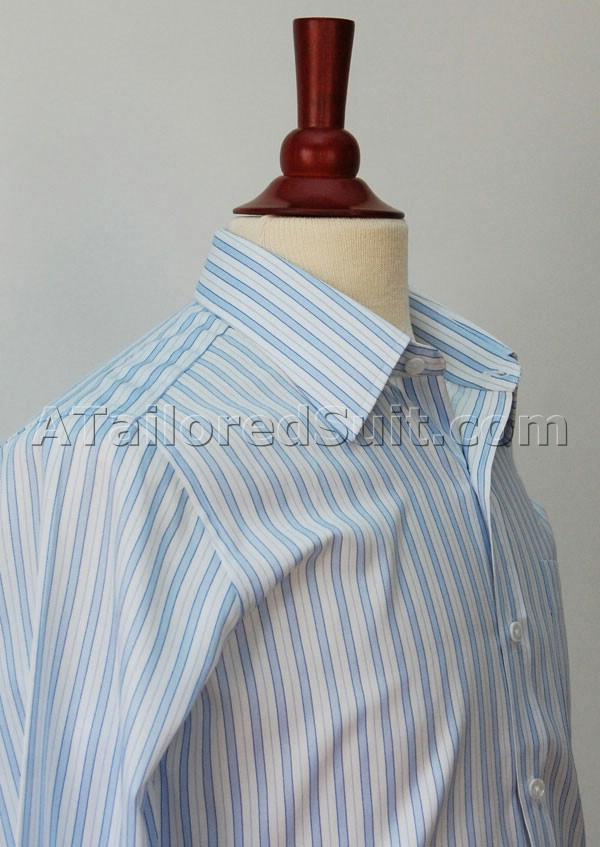 Bespoke White Dress Shirt Blue Stripes