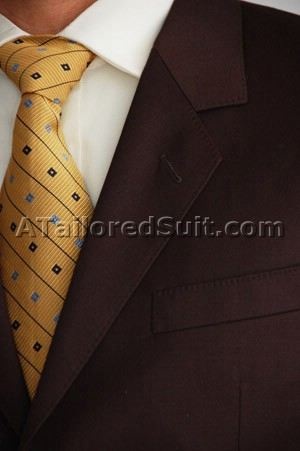 gold tie brown mens suit