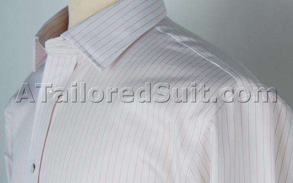 White custom shirt pink stripes