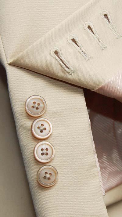 tan khaki mens suit button holes on jacket sleeve