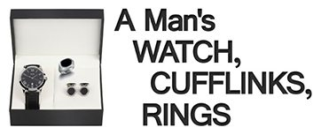 Mens-Accessories-A-Man's-Watch-Cufflinks-Rings-NEW